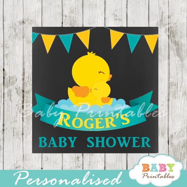 baby boy yellow rubber duck printable chalkboard baby shower gift labels for favors