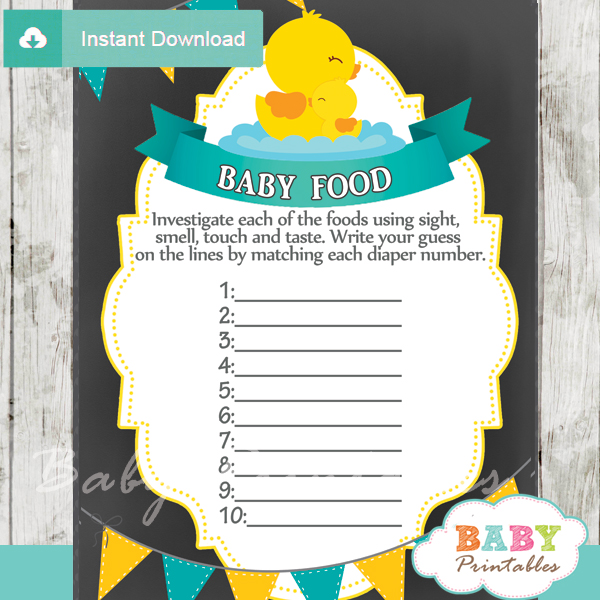chalkboard rubber ducky baby boy shower games - d140