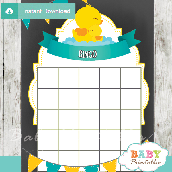 printable rubber ducky baby shower bingo games cards