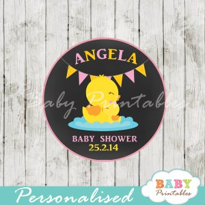 custom printable yellow duck baby shower gift tags