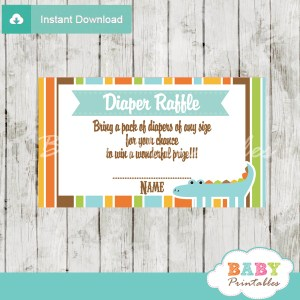printable blue crocodile diaper raffle tickets baby shower