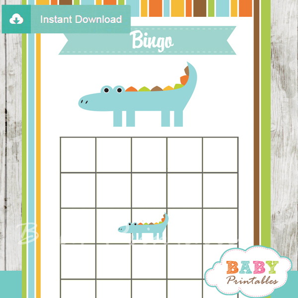 printable crocodile themed baby shower bingo games cards