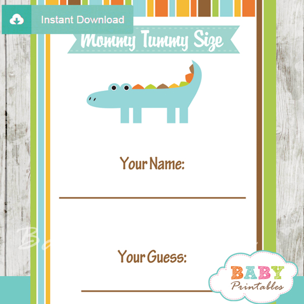 crocodile themed printable Baby Shower Game Guess the Mommy's Tummy Size