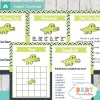 printable preppy crocodile themed baby shower games package