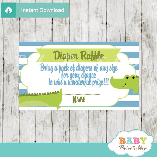 printable preppy crocodile diaper raffle tickets baby shower