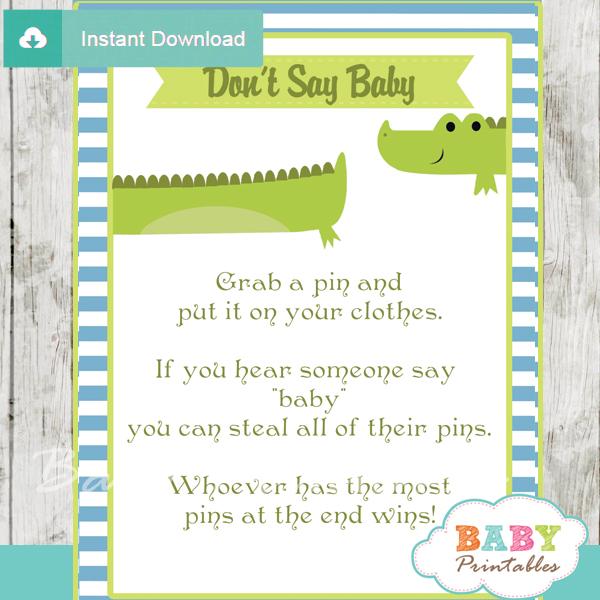 printable crocodile theme Dont Say Baby Game pdf