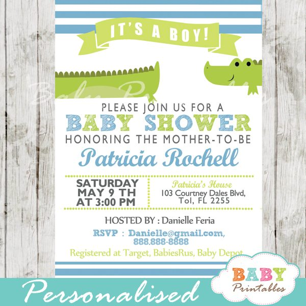 Lime Green Blue Alligator Baby Shower