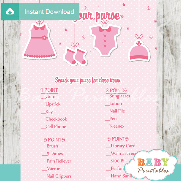 pink baby girl clothes themed printable baby shower games what's in your purse