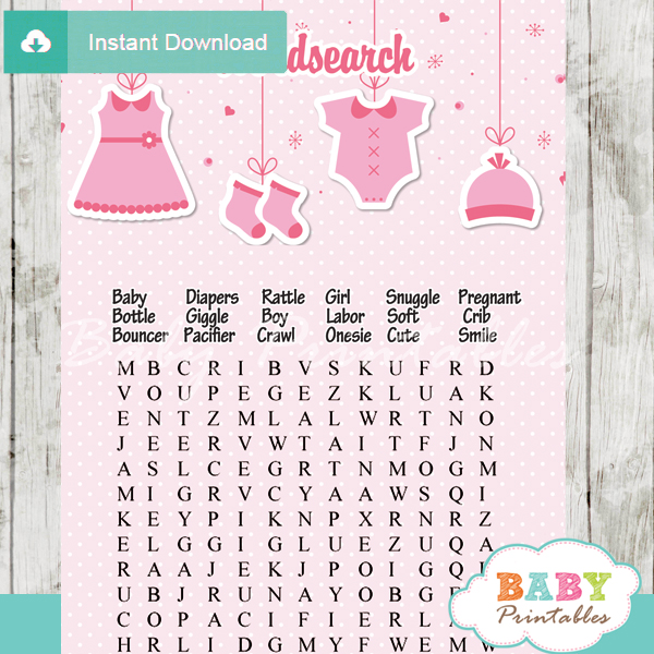 baby girl pink clothes themed printable baby shower word search puzzles