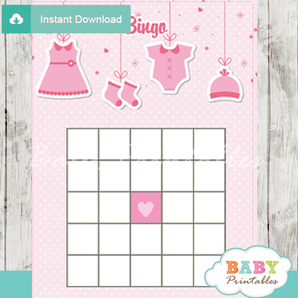 printable pink baby girl clothes themed baby shower bingo games cards