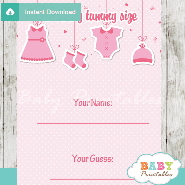 baby girl pink clothes printable Baby Shower Game Guess the Mommy's Tummy Size