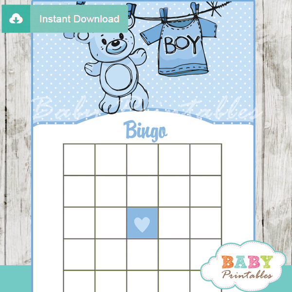 printable blue baby boy clothes themed baby shower bingo games cards