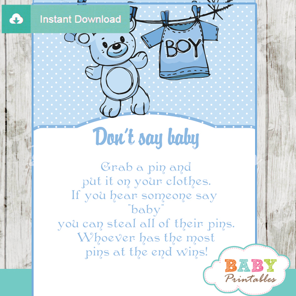 printable blue baby boy clothes theme Dont Say Baby Game pdf