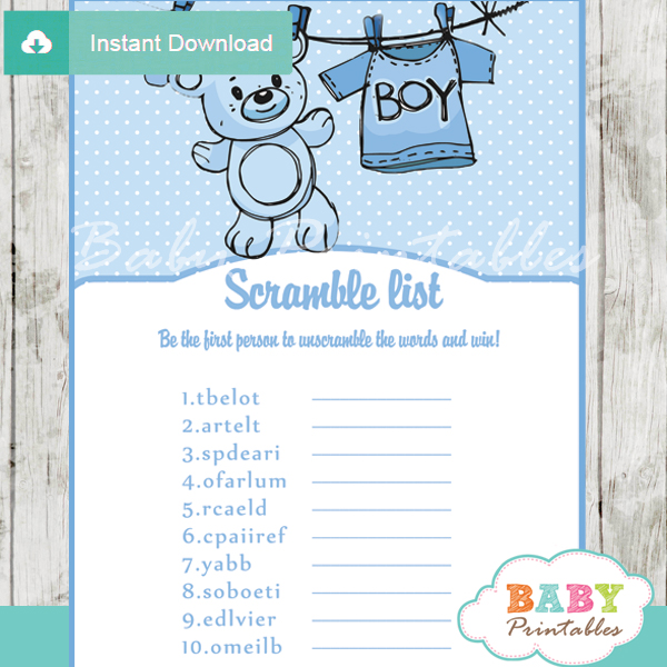 baby boy blue clothes printable word scramble baby shower games