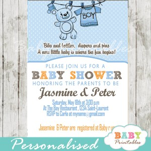 baby boy blue clothes baby shower invitation printable