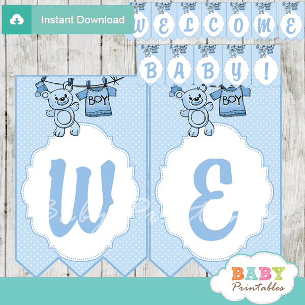 welcome baby printable baby boy clothes themed baby shower banner