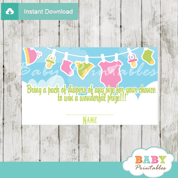 printable pink baby girl clothes diaper raffle tickets baby shower