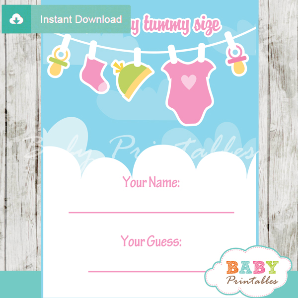 baby girl clothesline printable Baby Shower Game Guess the Mommy's Tummy Size