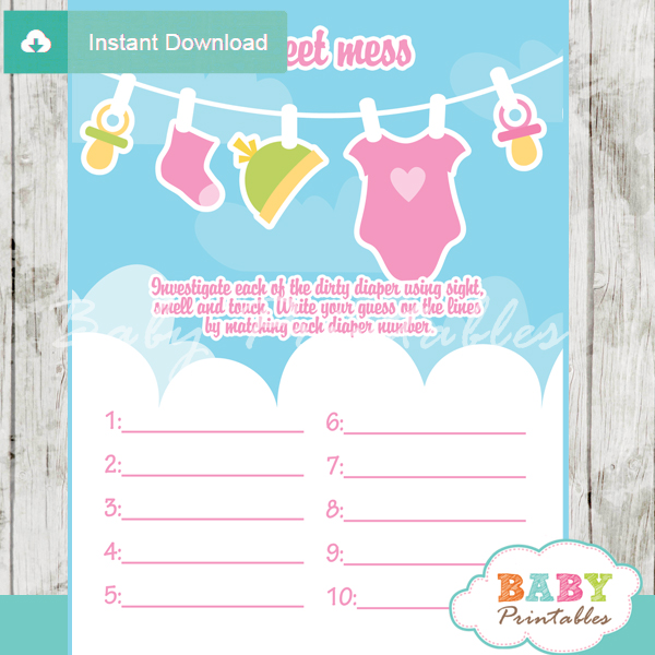 baby girl clothes themed Baby Shower Game What's That Sweet Mess Dirty Diaper Shower Game