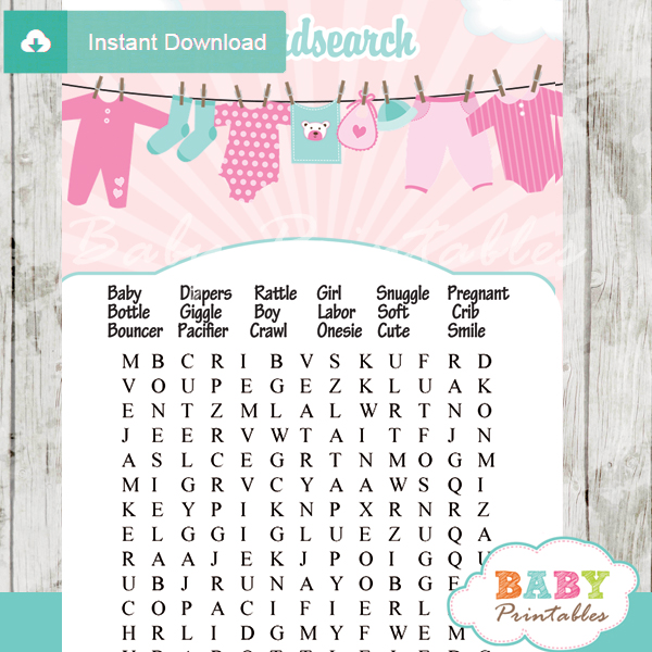 baby girl pink tiffany clothes themed printable baby shower word search puzzles