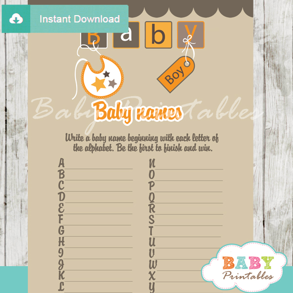 printable baby blocks letters Name Race Baby Shower Game cards