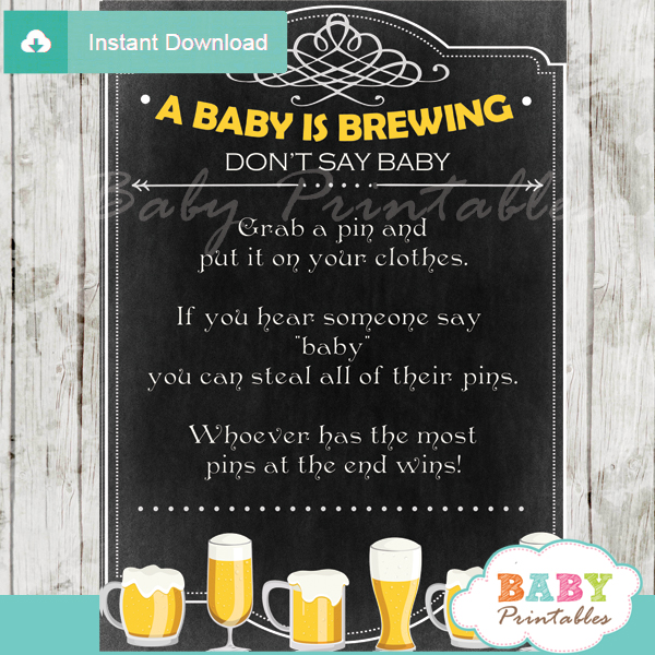printable baby is brewing theme Dont Say Baby Game pdf