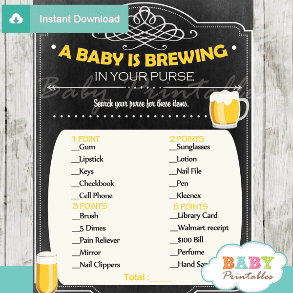 baby is brewing themed printable baby shower games what's in your purse