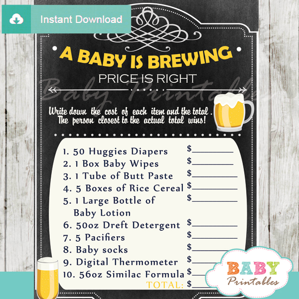 baby baby is brewing Price is Right Baby Shower Games printable pdf