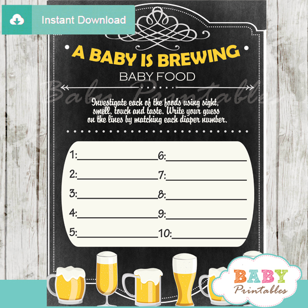 baby is brewing printable baby shower games blind tasting baby food