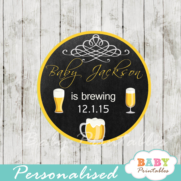 babyq beer brewing baby shower tags labels