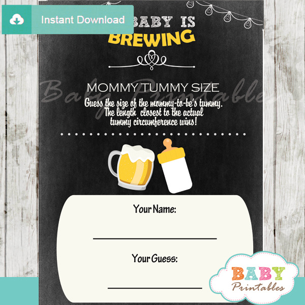 beer bbq printable Baby Shower Game Guess the Mommy's Tummy Size