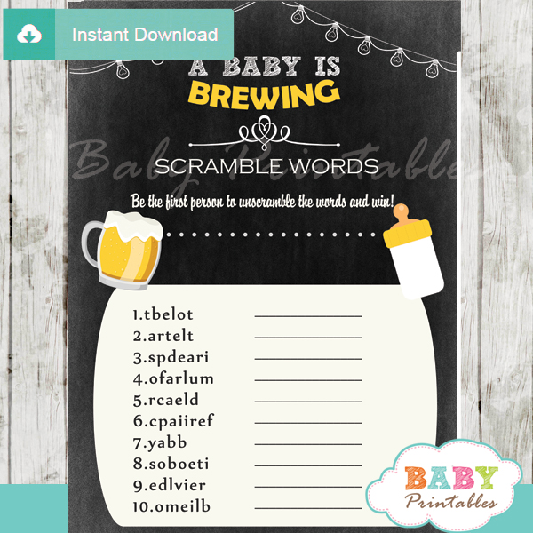 beer bbq printable word scramble baby shower games