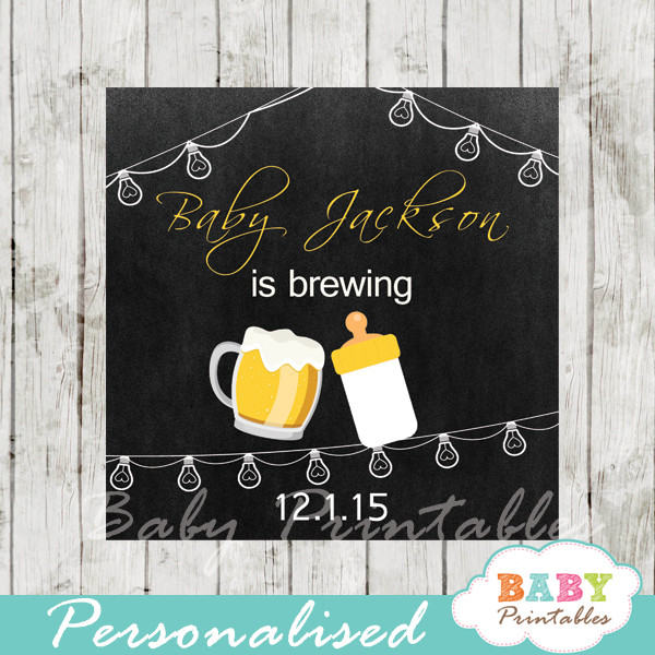 printable baby is brewing beer bbq baby shower gift labels