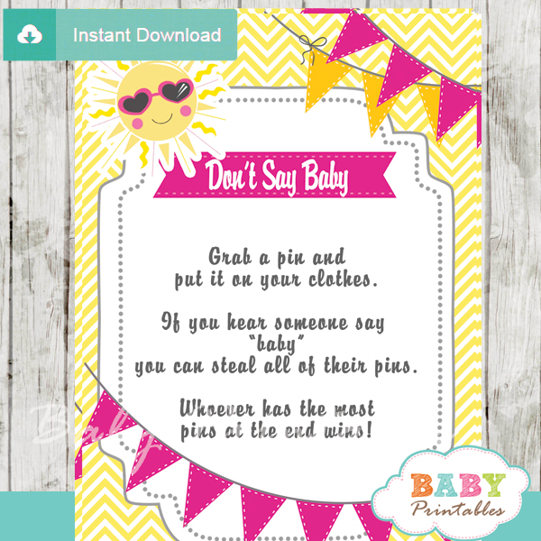 girl printable sunshine theme Dont Say Baby Game pdf