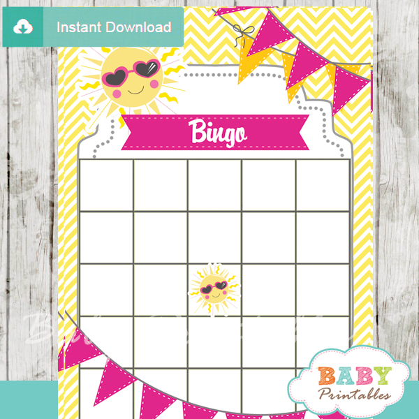 printable sunshine themed baby shower bingo games cards