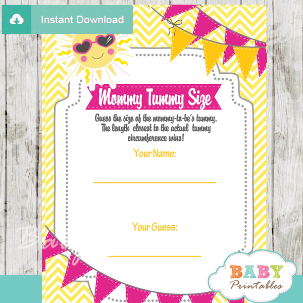 pink yellow sunshine printable Baby Shower Game Guess the Mommy's Tummy Size