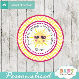 custom pink yellow chevron sunshine themed baby shower tags labels