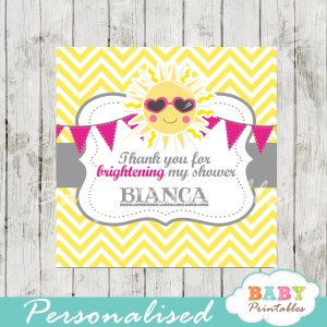 printable pink yellow chevron sunshine baby shower gift labels