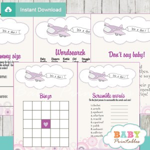 printable purple airplane themed baby shower games package