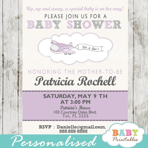 printable purple airplane theme baby shower invitation for girls