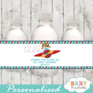 custom little aviator baby shower bottle wrappers diy