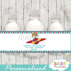 custom little aviator baby shower bottle wrappers diy