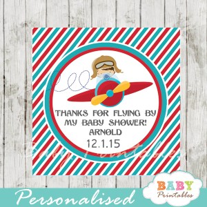 printable custom little aviator baby shower favor tags