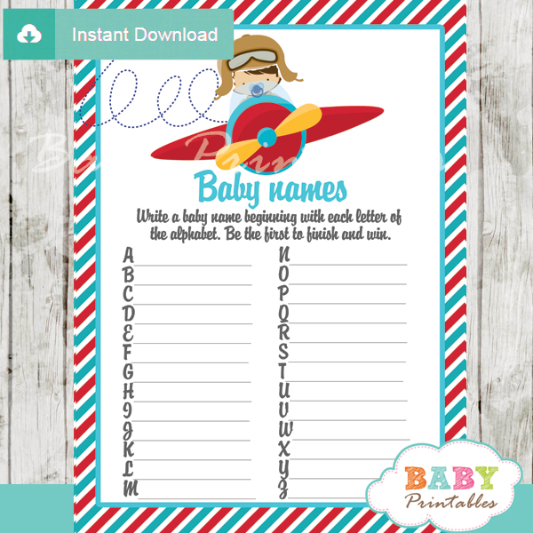 printable little aviator Name Race Baby Shower Game cards