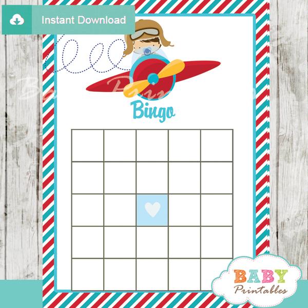 little aviator themed baby shower bingo games cards