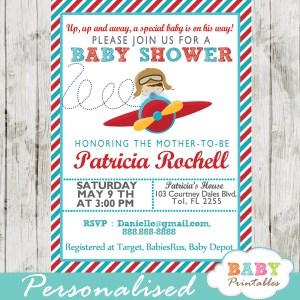 printable airplane little aviator baby shower invitation for boys