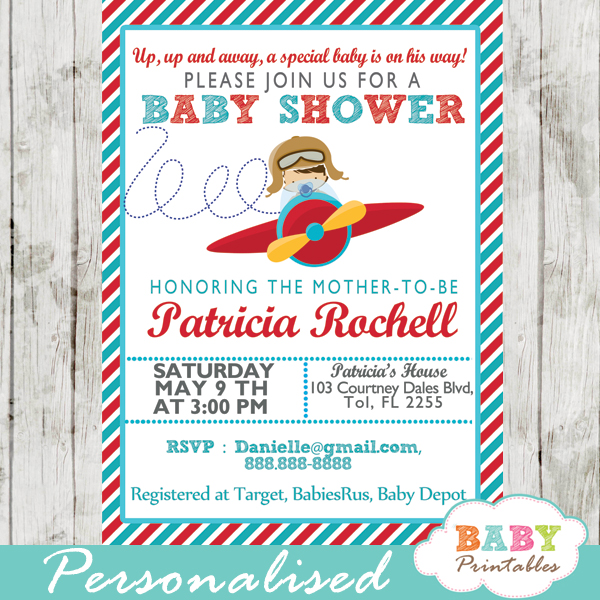 Red Turquoise Little Pilot Baby Shower Invitation Boys D168