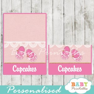printable girl baby shoes custom food label cards