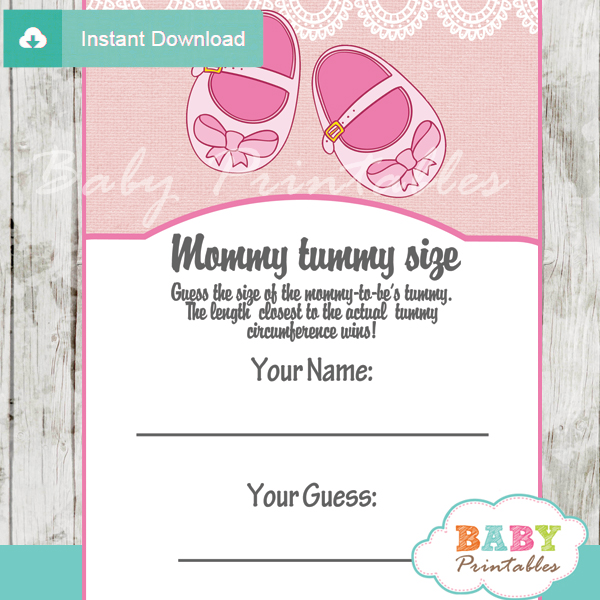baby girl shoes printable Baby Shower Game Guess the Mommy's Tummy Size