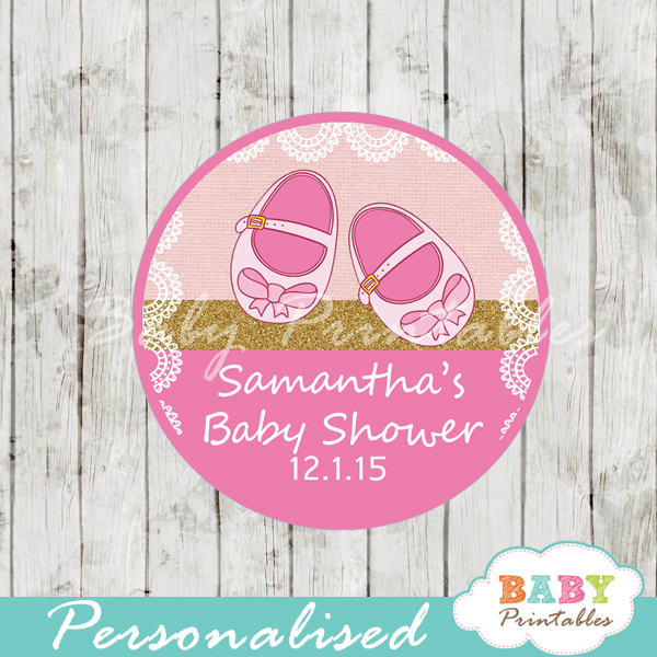 Pink Baby Shoes Baby Shower Favor Tags D170 Baby Printables